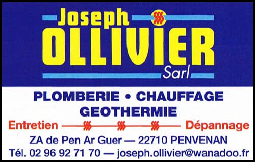 joseph ollivier, chauffage, plomberie, géothermie,