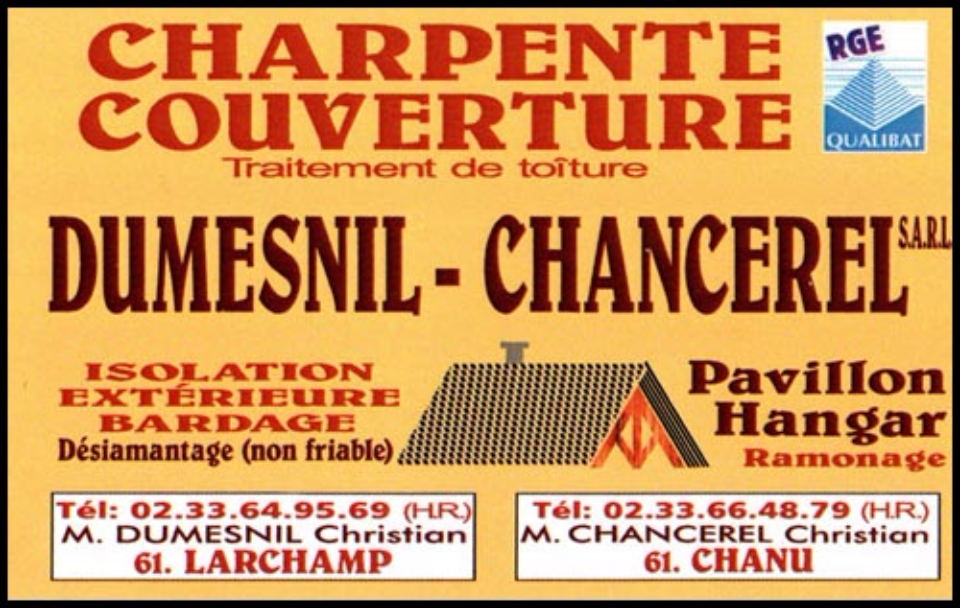 sarl dumesnil-chancerel, charpente, couverture,ramonage,zinguerie,bardage